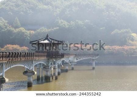 Wolryeong bridge across Nakdong river in Andong city - stock photo