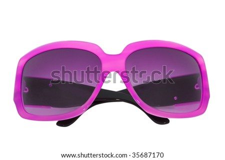 woman accessory. modern sunglasses isolated on white - stock photo