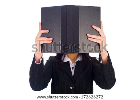 Woman addicted to reading holding a black book on white background. - stock photo