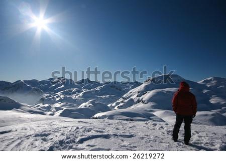 Woman admiring winter mountains - stock photo