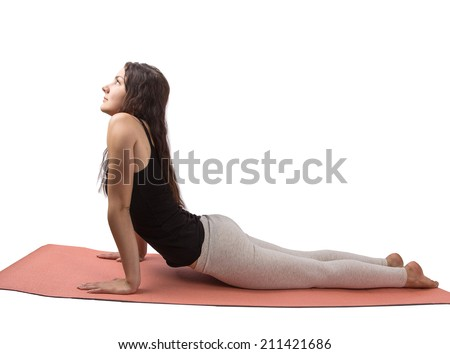 woman aerobics mat isolated on white background