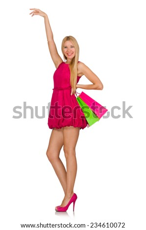 Woman after good christmas shopping isolated on white