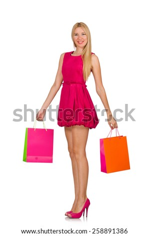 Woman after good christmas shopping isolated on white - stock photo