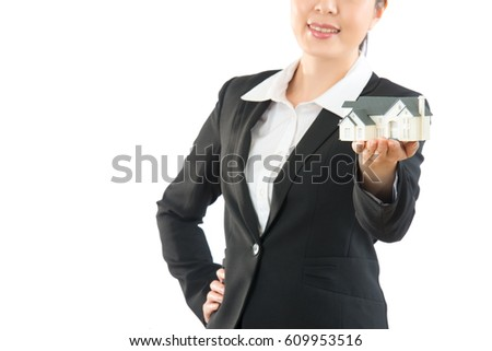 woman agent holding new house closeup give best plan to choose house. office girl hand insert the waist. isolated on white wall.