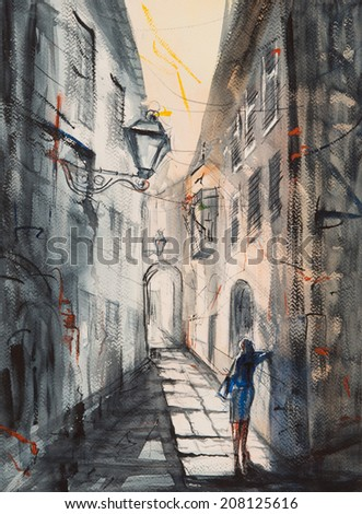 Woman alone in the street