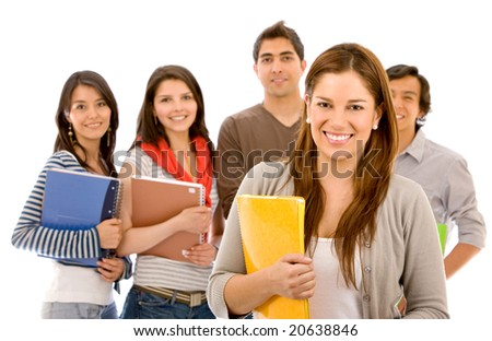 woman and a group of university students smiling - isolated over a white background - stock photo