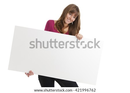 woman and a sign  - stock photo
