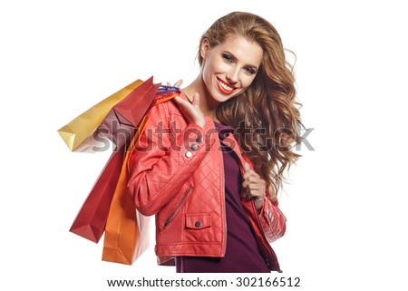 Woman and autumn shopping - stock photo