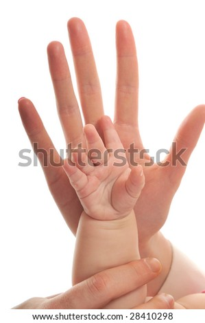 woman and baby hand together isolated on white representing love and family concept - stock photo