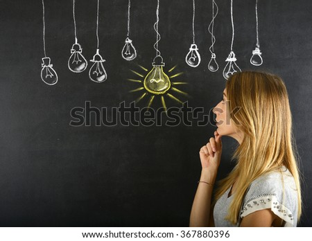Woman and big idea concept - stock photo