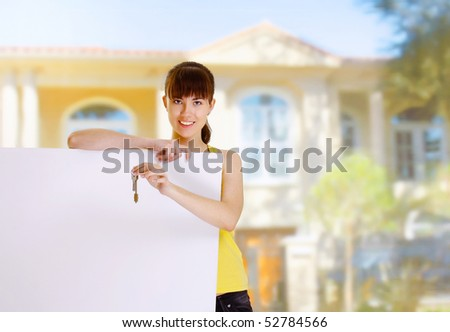 Woman and blank - stock photo