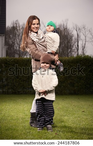Woman and children - stock photo