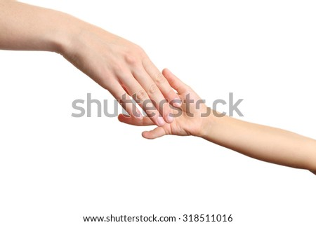Woman and children hand on the white background - stock photo