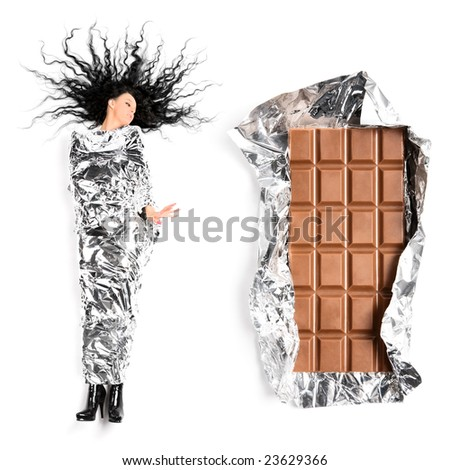 Woman and chocolate. On white background. - stock photo