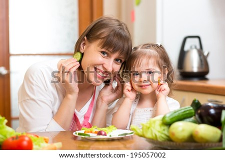 woman and daughter cooking and having fun in kitchen