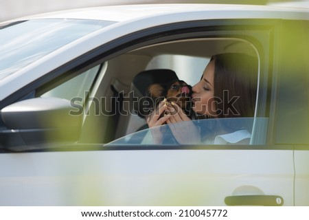 Woman and dog in car on summer travel. Funny dog traveling. Vacation with pet concept. - stock photo