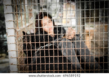 Woman and dog in the cage, Human trafficking concept,Blurry portrait