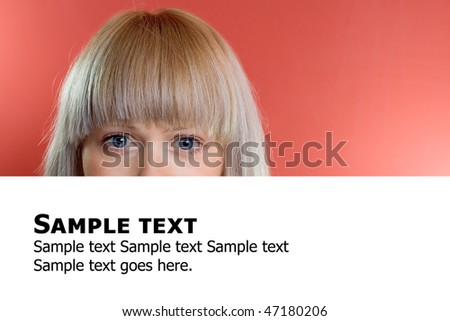 Woman and empty billboard over red background - stock photo