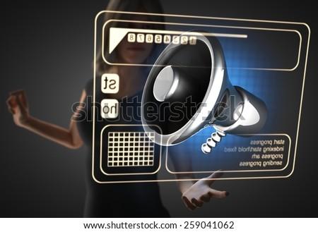 woman and futusistic hologram on hand - stock photo