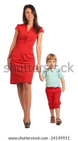 Woman and girl walking - stock photo