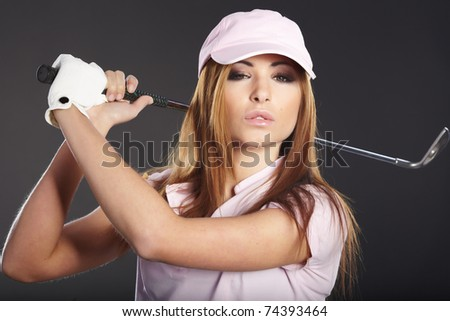 Woman and golf - stock photo