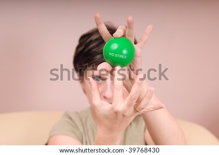 woman and green ball - stock photo