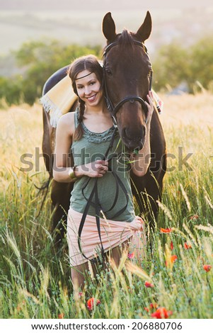 woman and horse training
