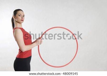 Woman and hula hoop