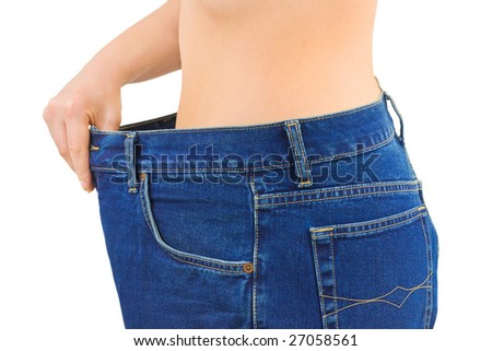 Woman and jeans - slimming, isolated on white background - stock photo