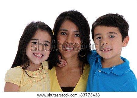 woman and kids set on a white background - stock photo