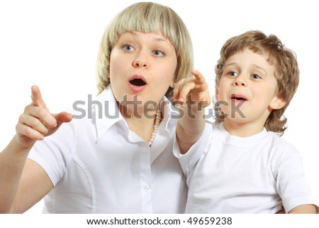 woman and little boy playing and surprising - stock photo