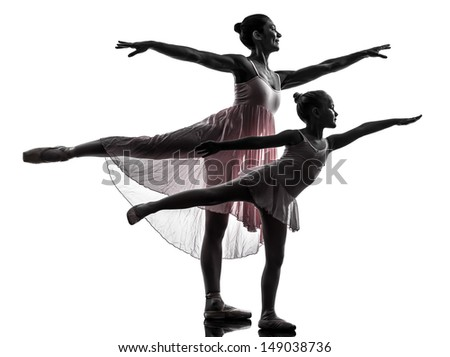 woman and  little girl   ballerina ballet dancer dancing in silhouette on white background - stock photo