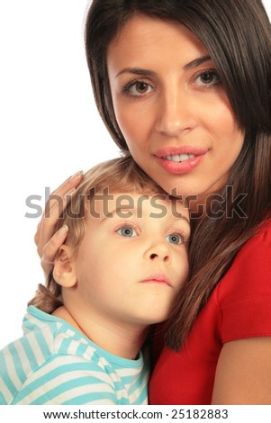 Woman and little girl close-up