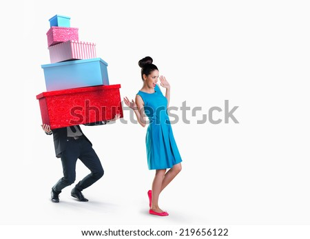 Woman and man going shopping isolated on white background