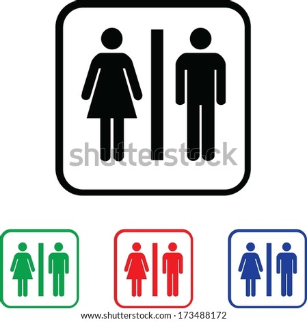 Woman and Man Icon Illustration with Four Color Variations