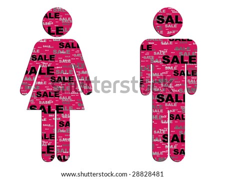 woman and man icon with sale pattern on it raster image of vector