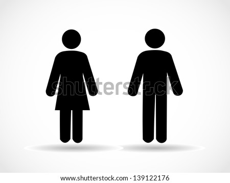 Woman and man icons - stock photo