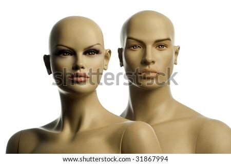 woman and man mannequin on white background