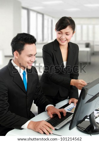 woman and man office worker working in the office