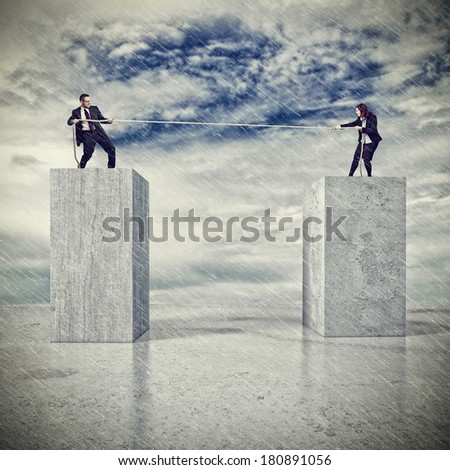woman and man pull rope on abstract 3d background