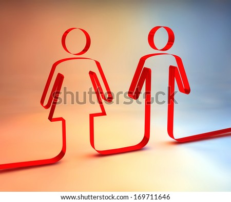Woman and man silhouette, red ribbon - stock photo