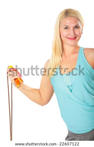 Woman and skipping rope - stock photo