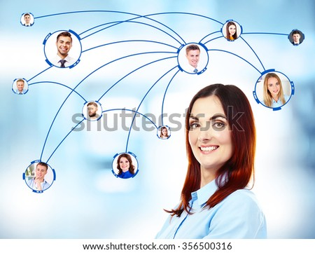 Woman and social network structure on abstract background