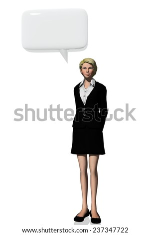 Woman and speak bubble symbol - stock photo