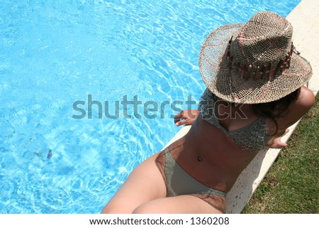 woman and swimming pool