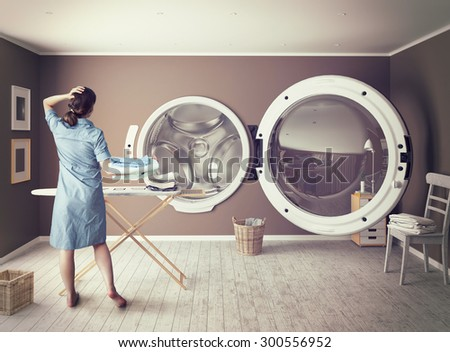 Woman and the Big Wash. Creative concept.Photo combination - stock photo