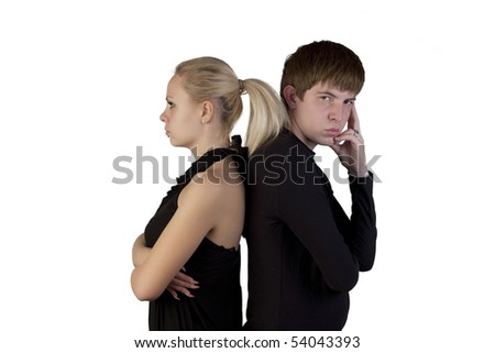 Woman and young man posing on a white background - stock photo