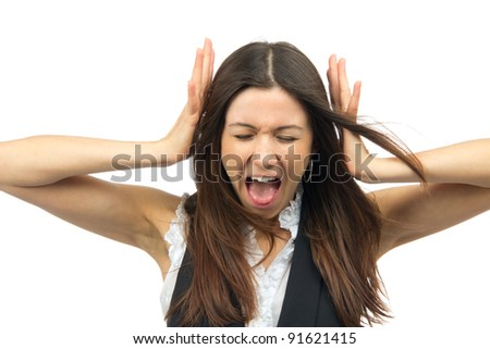 Woman angry yelling frustrated screaming out loud and pulling her hair with closed eyes  isolated on a white background - stock photo