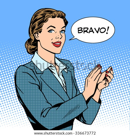 woman applause Bravo concept of success retro style pop art - stock photo