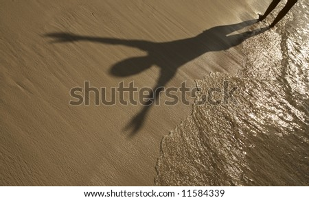 Woman are relaxing on a beach - stock photo